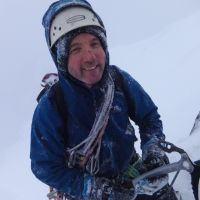 Mountain Action. - Jim Symon enjoys Scottish conditions on The White Line, IV 4, Ben Nevis