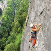 Rock Action. - Highly Commended - Rebecca Ting belayed by  Gareth Williams on pitch 2 of Delicatessen, High Tor