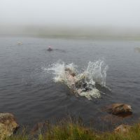Red Tarn under Pike O Blisco. The meet leader trying to avoid wading through the sludge