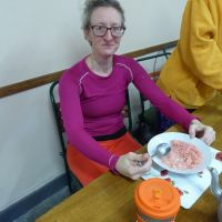 Emily preparing for the race with a pink breakfast