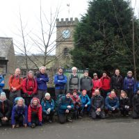 Group photo outside Todmorden station (A helpful coach driver)