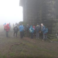 Gathering in the mist at Stoodley Pike Monument
