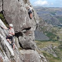 Gowry on Slack, Dave Shotton on Slick, clogwyn yr Oen (David Rainsbury)