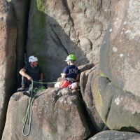 David and Emily at the belay on Valkyrie (Dave Wylie)