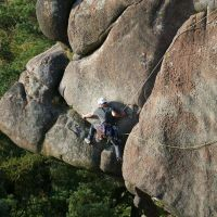 "David doing the step from the flake on ""Valkyrie"" (Dave Wylie)"