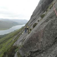Gareth Williams on the Traverse, Pitch 3 Spartan Slab, Etive Slabs (Colin Maddison)