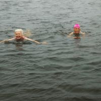 Trish and Kirsten in Innominate Tarn (Dave Wylie)