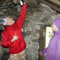 Mark testing the Bothy Lights (Dave Wylie)