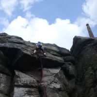 Dave S above the overhang on Topsail