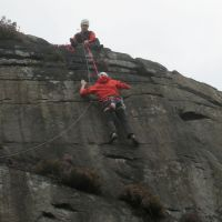 Jack following Nils up Allens Slab (Roger Dyke)