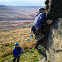 Ian leading Blind Buttress S 4a Pule Hill (Andy Stratford)