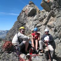 James, Gareth and Carolyn on the summit of Aiguille Gaspard (Duncan Lee)